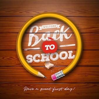 Volver al diseño de la escuela con lápiz de grafito y letras de tipografía sobre fondo de textura de madera vintage