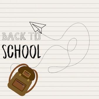 Volver al diseño de la escuela con el vector de fondo blanco