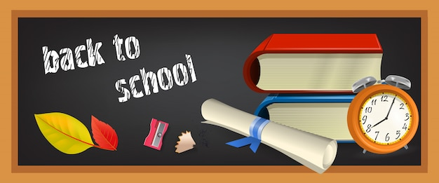 Volver al estandarte de la escuela con libros
