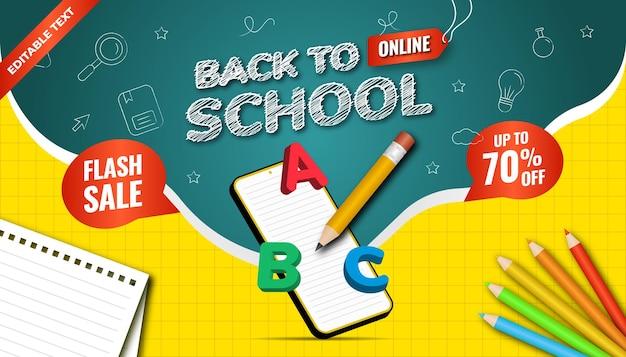 Volver al fondo de la escuela en línea. venta flash hasta un 70% de descuento. diseño con estilo de tiza de icono e ilustración 3d.