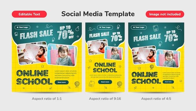 Volver al fondo de plantilla de redes sociales de escuela en línea. venta flash hasta un 70% de descuento. diseño con estilo de tiza de icono e ilustración 3d.