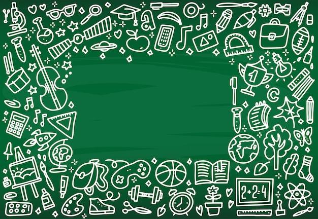 Volver al marco de la bandera de la escuela con textura de los iconos de arte de línea de la educación