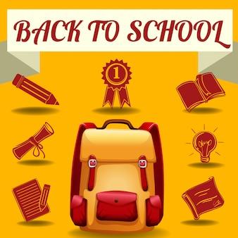 Volver al tema de la escuela con objetos escolares
