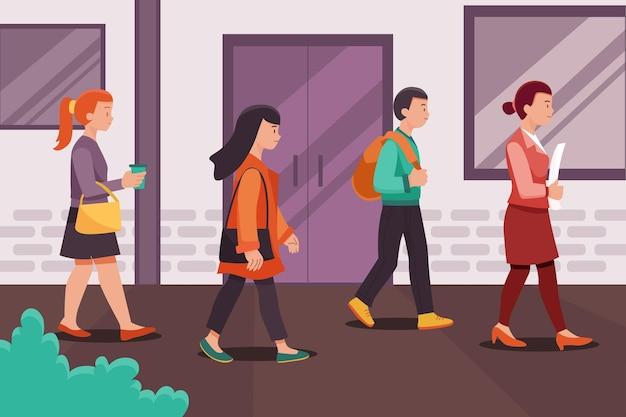 Volver al trabajo gente caminando al aire libre