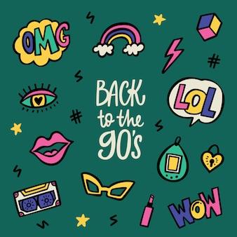 Volver a los años noventa letras y conjunto de pegatinas doodle