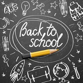 Volver a la bandera de la escuela, doodle sobre fondo de pizarra, ilustración.