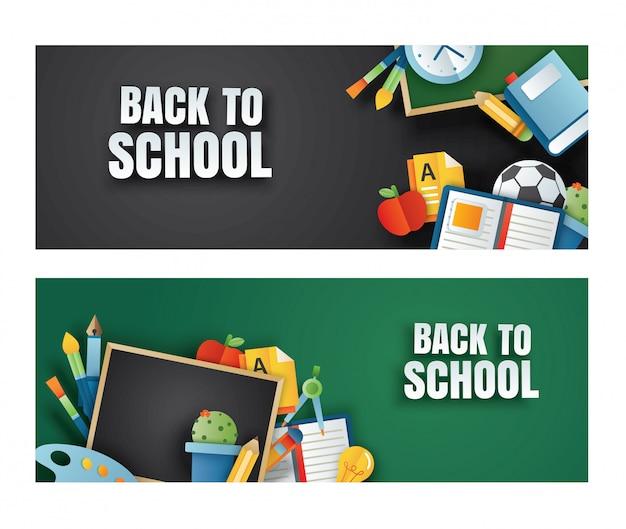 Volver a la bandera de la escuela con elementos de educación en la pizarra