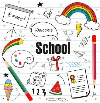 Volver a los doodles de la escuela sobre papel