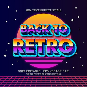 Volver a efectos de texto retro 80s