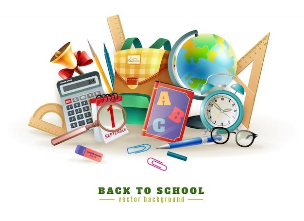 Volver a la escuela accesorios composición cartel