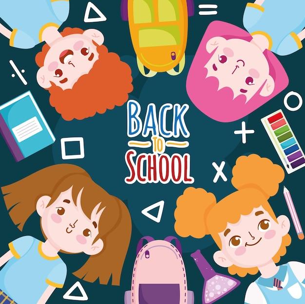 Volver a la escuela alumnos lindos dibujos animados libro lápiz color e ilustración de bolsa