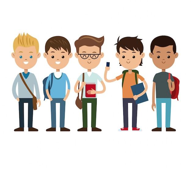 Volver a la escuela amigos chicos felices