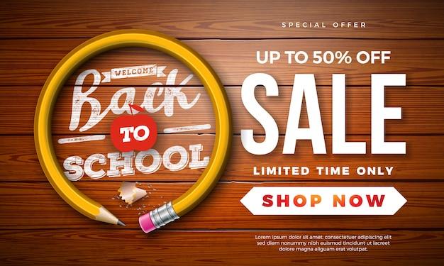Volver a la escuela banner de venta con lápiz de grafito y letra de tipografía en madera vintage