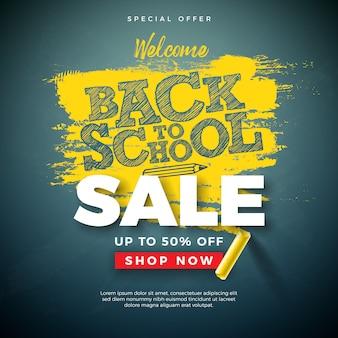 Volver a la escuela banner de venta con tipografía letra y tiza en pizarra
