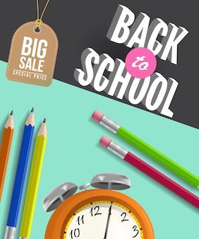Volver a la escuela cartel de gran venta con lápices, reloj despertador