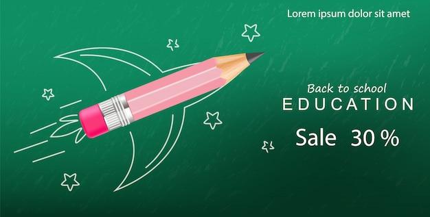 Volver a la escuela creativo crayón cohete, plantilla de banner de venta