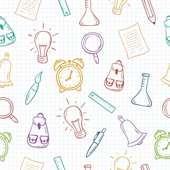 Volver a la escuela dibujados a mano coloridos patrones sin fisuras en papel cuadriculado.