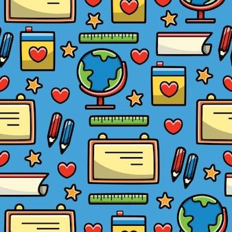 Volver a la escuela de dibujos animados doodle diseño de patrones sin fisuras