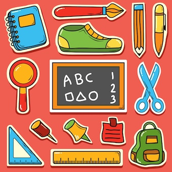 Volver a la escuela de dibujos animados lindo dibujado a mano doodle icono pegatina