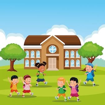Volver a la escuela de dibujos animados para niños
