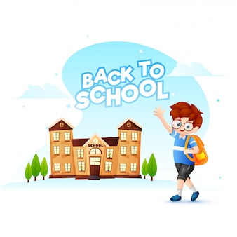Volver a la escuela de diseño de cartel o banner con personaje de dibujos animados de