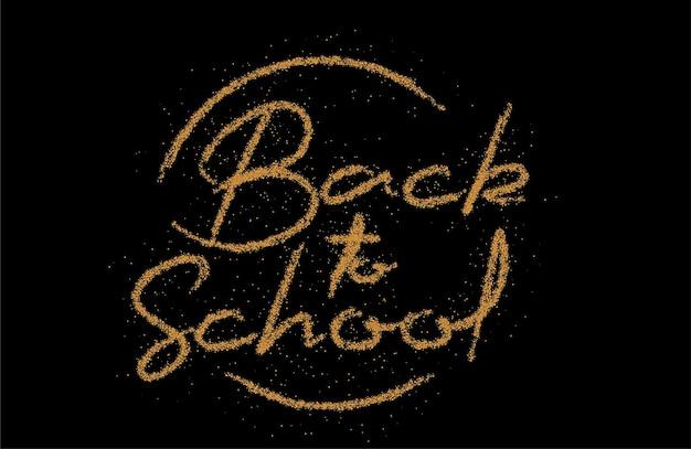 Volver a la escuela diseño moderno caligráfico del ejemplo del vector del texto del estilo de la fuente de la partícula.