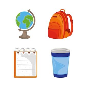 Volver a la escuela educación conjunto de iconos globo mapa mochila bloc de notas e ilustración de taza de café