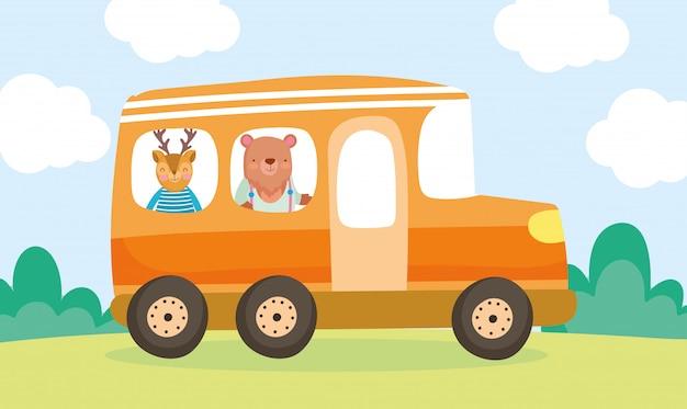 Volver a la escuela educación oso y ciervo en el autobús