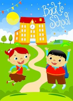 Volver a la escuela feliz niños diseño plano ilustración. fuente hecha a mano.