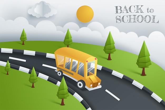 Volver a la escuela flyer de diseño de banner de vector con elementos de educación de autobús escolar y espacio para texto en un fondo. ilustración vectorial