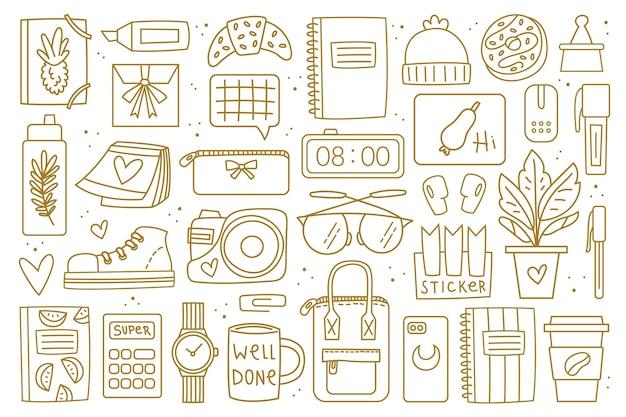 Volver a la escuela de imágenes prediseñadas grandes, conjunto de elementos. diseño de doodle dorado.