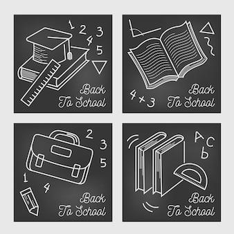 Volver a la escuela instagram post pizarra diseño