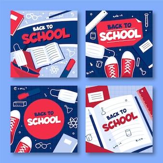 Volver a la escuela instagram posts en diseño plano