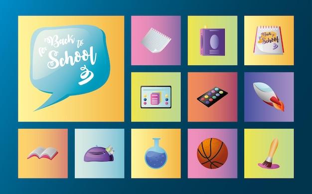 Volver a la escuela, libro de papel, matraz, pintura, color, cepillo, en, cuadrado, color, iconos, conjunto, vector, ilustración