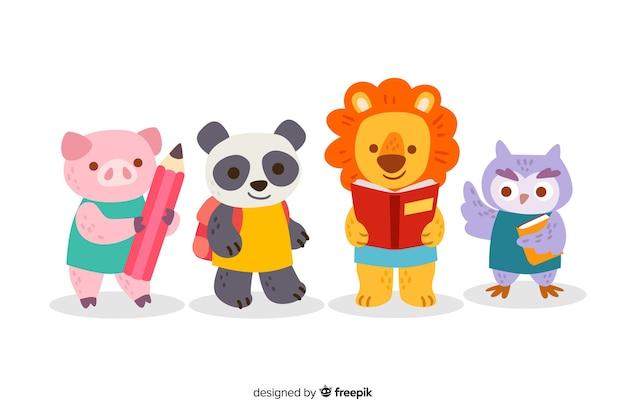 Volver a la escuela linda colección de animales