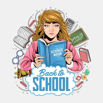 Volver a la escuela niñas lectura de libros alrededor del equipo escolar ilustraciones