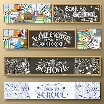 Volver a la escuela pancartas horizontales con papelería doodle y otras materias escolares. estándar para proporciones web.
