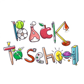 Volver a la escuela tipo doodle decorativo