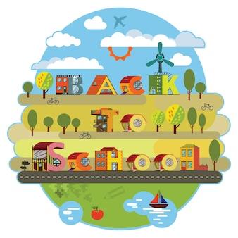 Volver a la etiqueta de la escuela. paisaje urbano de ciudad alfabética en estilo de diseño plano.