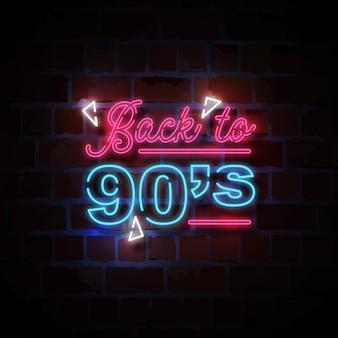 Volver a la ilustración de signo de estilo neón de los 90
