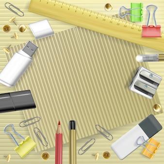 Volver a la ilustración de la universidad de los efectos de escritorio para la tarjeta de felicitación. plantilla de educación escolar