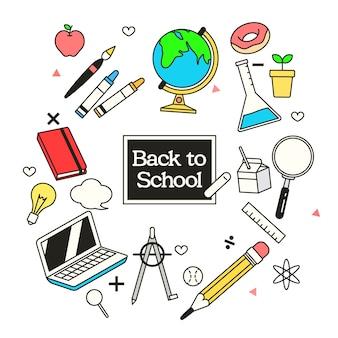 Volver a la pancarta de la escuela con útiles escolares