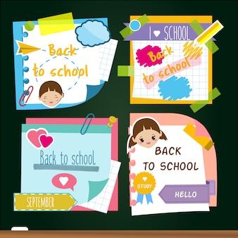 Volver a las pegatinas escolares. memoria de notas adhesivas, símbolos de estudio.
