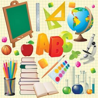 Volver a útiles escolares. elemento de diseño y conjunto.
