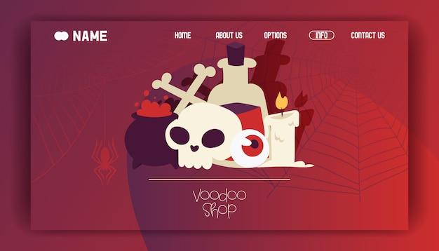 Voodoo shop landing page o diseño de sitio web. sustancias venenosas y líquidos en caldero y botella grande. vela encendida, cráneo con huesos cruzados y globo ocular.
