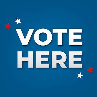 Vota aquí vector de texto con estrella americana