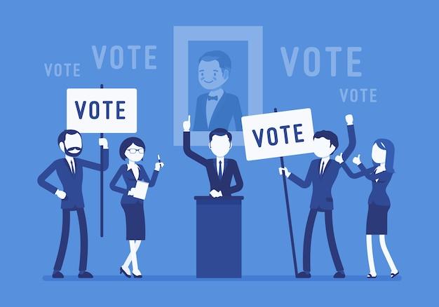 Votación de campaña electoral en diseño plano