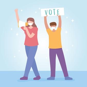 Votación y elección, gente con megáfono y campaña de carteles.