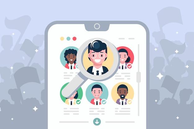 Votación electoral en línea en la ilustración moderna del teléfono inteligente