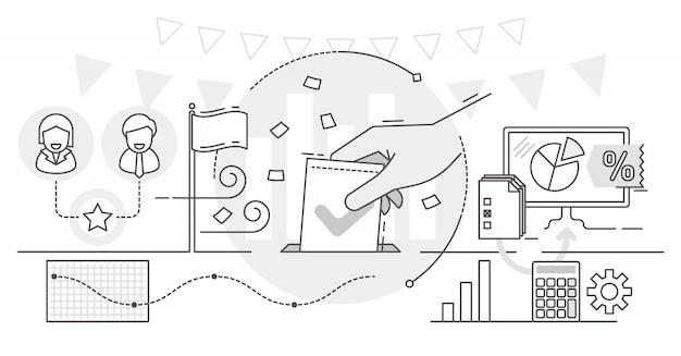 Votación en línea, ilustración del concepto de esquema